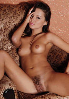 Sensual naked girl with hairy pussy.